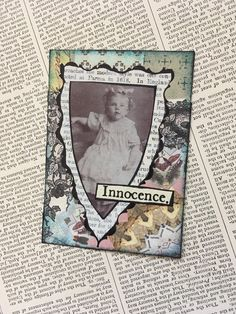 "ACEO ATC one-of-a-kind Original ""Innocence"" Artist Trading Card by PaperPastiche on Etsy"