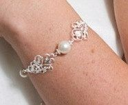 Filigree White Pearl Wedding Bracelet Simple by AuroraJewelryBox, $40.00