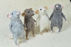 RESERVED FOR ANGELIQUE Tiny Mouses- needle felted ornament animal, felting dreams