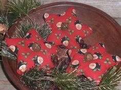 3 Primitive Christmas Snowman RED Stars Bowl Fillers Ornies Ornaments Tucks #Primitive #ChooseMoosePrimitiveDesigns