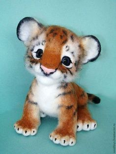 "*NEEDLE FELTED ~ Animal toys, handmade.  Fair Masters - handmade.  Buy Tiger ""Tod"".  Handmade.  Red, Aurora, wire"