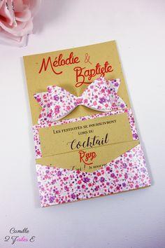 Camille 2 z'ailes E | Faire-part Champêtre Chic – kraft vintage noeud liberty