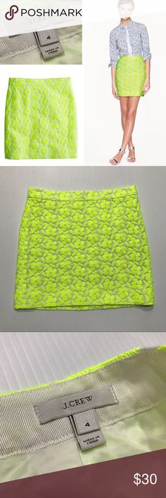"""•J. Crew• Postage Stamp Mini Skirt, Neon Floral • J. Crew • Women's size 4 • NWOT!🎉 • Postage stamp mini skirt. • Embroidered, neon floral. • Zipper and metal clasp in the back. • 50% cotton, 50% polyester  • Measurements: ~ Waist: 15.5"""" laying flat ~ Length: 17"""" J. Crew Skirts Mini"""
