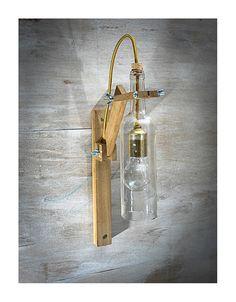 Lámpara pared madera botella blanca lámpara madera Lámpara