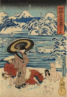 Kuniyoshi .Title: Frozen Snow from Kaga Province (加賀ノ雪) Description: Woman with umbrella having her wooden sandal (geta) adjusted