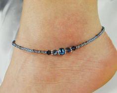 Anklet Ankle Bracelet Turquoise Anklet por ABeadApartJewelry