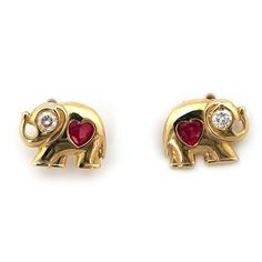 14k Yellow Gold Simulated Ruby and Cubic Zirconia Elephant Stud Earrings with Baby Safe Screwbacks
