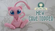 Mew cake topper : Pokemon gum paste or polymer clay model
