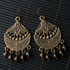 Ethnic Brown & Antique Gold Chandelier Earrings