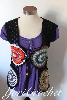 Frente chaleco crochet hippie colores