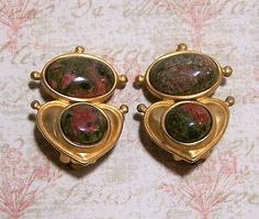 Vintage Ann Taylor unakite earrings Oval cabochon unakite stones are set in a heart matte gold tone design Clip on style, includes brand new comfort cushions that slip on the clip, easily removable Signed Ann Taylor 1 1/4 x 7/8 inches Good vintage condition, shows no wear  International buyers welcome, over charges are automatically refunded Priority shipping is offered 42617  Credit cards and Paypal accepted