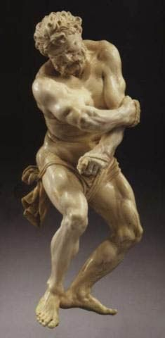 Master of the Martyrdom of St. Sebastian (17th Century)  The captive Hercules,carved ivory ,ca 1655   Viennese ivory sculptor