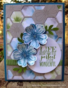 Canopy Crafts: Stampin' Up! A Flower Shop, pansy punch, Hive embossing folder