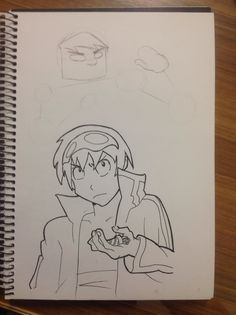 My attempt at a line drawing of Simon from Tengan Toppa Gurren Lagann.
