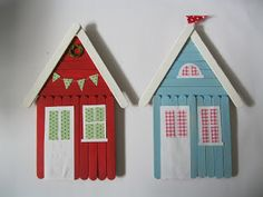 Fräulein Spatz: popsicle stick houses - so fun to do with kids for the holidays