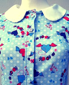 Retro hearts blouse - detail