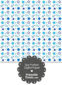 Blue Star Pattern Digital Scrapbook Paper from PrintableTreats.com