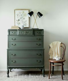 Hands up if you love deep green tones for fall! Heidi from Lily Field Furniture chose our limited edition deep olive color called Woodland for this incredible, ornate dresser makeover! Green Painted Furniture, Paint Furniture, Repurposed Furniture, Shabby Chic Furniture, Furniture Projects, Furniture Makeover, Home Furniture, Cheap Furniture, Leather Furniture
