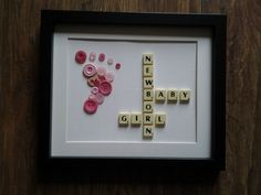 "Hand Crafted 12"" x 10"" Scrabble Art Button Foot Picture Newborn Baby Girl"