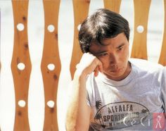 A young Haruki Murakami (村上春樹)。...Counting down to tomorrow's Nobel Literature Prize Award announcement. Rooting for Murakami san!