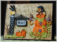 Kathy Roney: Joyfully Made Designs for CottageBLOG: BOO! Card - 10/12/15. (Dies: Scarecrow Pumpkin; Spooky Ironwork Sign; Harvest Fall Corner).  (Pin#1: Dies: Cottage Cutz.  Pin+: Halloween: Pumpkins)
