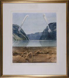 Einar Sigstad   Motiv 31 x 36 cm   Innrammet 45 x 52 cm   Innrammet med 2 cm bred gull/messing farget ramme   Grafikk: tresnitt   Opplag 30    5% kunstavgift inkludert i...