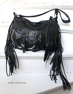 8af08028c9a1 Black fringe studded hobo bag purse rocker purse free people Leather  Pieces