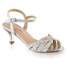 Silver Rhinestone Low Kitten Heels Junior Bridesmaid Vintage Bridal Shoes 7 8 9