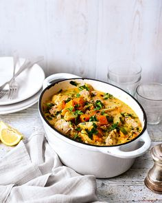 Our easy recipe for creamy chicken, cider and vegetable casserole makes a double portion – pop half in the freezer and enjoy the other half for dinner.