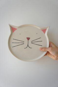 Cat Plate 1  ceramic  stoneware  pottery by vanessabeanshop