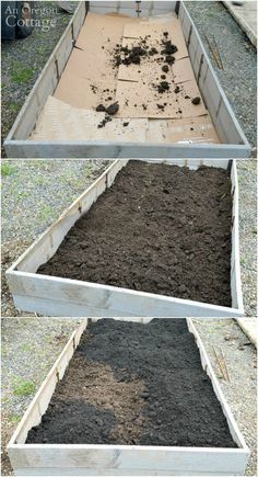 DIY Raised Garden Bed-adding soil layers: cardboard; composted manure; planting soil. #gardening #garden_bed #anoregoncottage