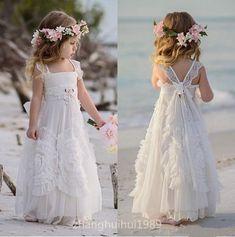 White Tulle Boho Flower Girl Dress Beach Wedding Princess Pageant Birthday Gown | eBay