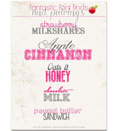 10 New Fonts to Pair - Fantastic {new} fonts that match up for creative logo's