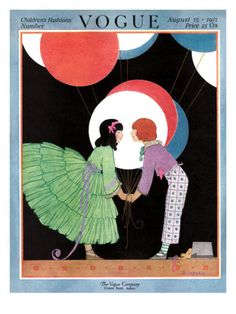 Vogue Cover - August 1917    A girl in a ruffled green dress and a boy in printed trousers and a purple shirt hold oversize balloons against a black background. This illustration, by Helen Dryden, appeared on the August 15, 1917, cover of Vogue.