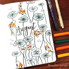 Bullet journal August cover page by Bullet Journal August, Bullet Journal Cover Ideas, Bullet Journal School, Bullet Journal Aesthetic, Bullet Journal Notebook, Bullet Journal Layout, Bullet Journal Inspiration, Journal Covers, Notebook Covers