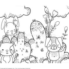 Dog Cat And Bunny Forest Animals Coloring Pages Free Instant Download Coloringbook
