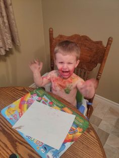 """He used all of his paint on his body instead of on his paper.""  Submitted By: Dana B. Location: Ontario, Canada"