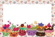 Cupcakes Fofinhos – Kit Completo com molduras para convites, rótulos para guloseimas, lembrancinhas e imagens! |Fazendo a Nossa Festa: