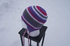 Great colors.  Women's Crocheted Hat with Ear Flaps in Pink by TheTipsyTurtle, $25.00