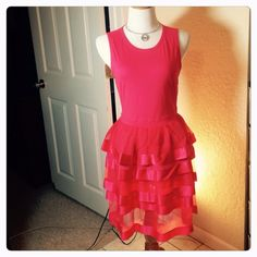 Miu MIU Dress Light jersey and organza fabric sleeveless dress!  Very beautiful and light!  Layered organza skirt! 35 inches shoulder to hem Bust 17 inches, 14 inch waist, Lined skirt 4/12 inches unlined organza skirt(CB1) Miu Miu Dresses