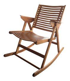 Niko Kralj Vintage Rex Folding Rocking Chair on Chairish.com