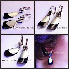 Il Girasole ❂  #Creazioni di #Fimo: #Orecchini #pendenti in #alluminio #riciclato lavorati...  #nespresso #cialde #caffè #coffe #handmade #earrings #metallo #goccia #foglia #nero #argento #leaf #black #silver