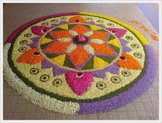 another pretty floral rangoli pattern