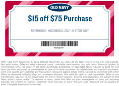 $15 off $75 at Old Navy coupon via The Coupons App