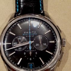 Blue Primero limited edition watch from Zenith live at #Baselworld