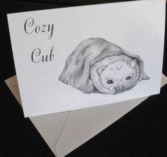 Greeting Card/ Cozy Cub Greeting Card/ Note Card / Animal Greeting Card N26 by LoraArtandStationery on Etsy