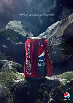 """Pepsi is not one of my favourites.I am definitely a """"Coke"""" person so this is scary. In Its Halloween Ad, Pepsi Dresses Up As Coca-Cola Creative Advertising, Ads Creative, Print Advertising, Advertising Campaign, Advertising Ideas, Pepsi Advertisement, Advertisement Examples, Funny Advertising, Guerilla Marketing"""