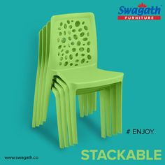 Stackable monoblock #chairs from Swagath is moulded in virgin polypropylene. The unique airy backrest of the Enjoy model chair looks outstanding. Get more details at www.swagath.co !!