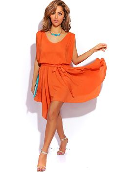 #1015store.com #fashion #style bright orange cut out back cold shoulder sleeve sash tie party sundress-$15.00 Beach Sundresses, Shoulder Sleeve, Cold Shoulder Dress, Cute Cuts, Affordable Dresses, Long Sleeve Tops, Sash, Bright, Tie
