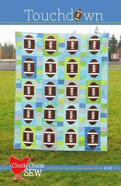 Touchdown Quilt Pattern by Cluck Cluck Sew - 2 Sizes - Super FUN Football Quilt - Quilting Projects, Quilting Designs, Sewing Projects, Quilting Ideas, Modern Quilting, Sewing Tips, Sewing Crafts, Quilt Design, Quilting Tutorials
